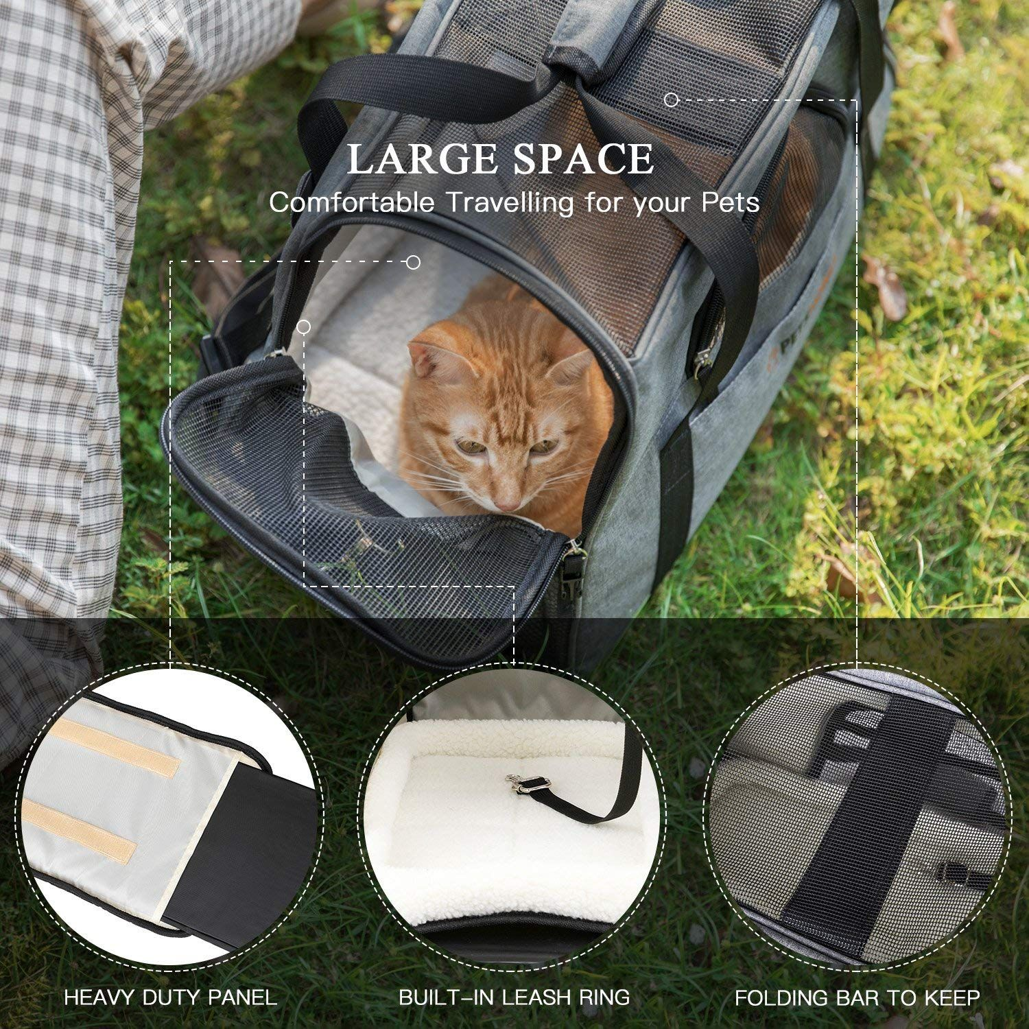d76a31ac00 Petshoney New Version Dog and Cat Carrier Soft Sided with Pet Mats- Airline  Approved Pet Travel Carrier with Convenient Side Pockets - New Folding Bar  ...
