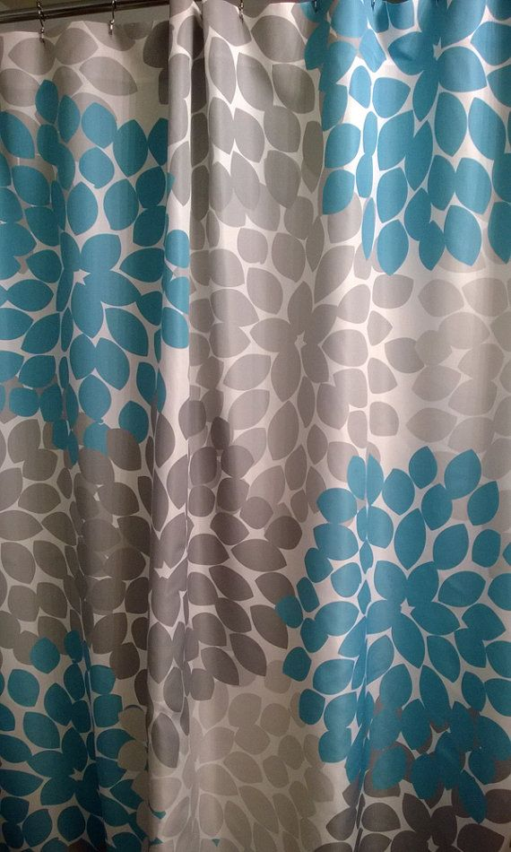shower curtain in blue and gray grey available lengths 74 or 78 or rh pinterest com