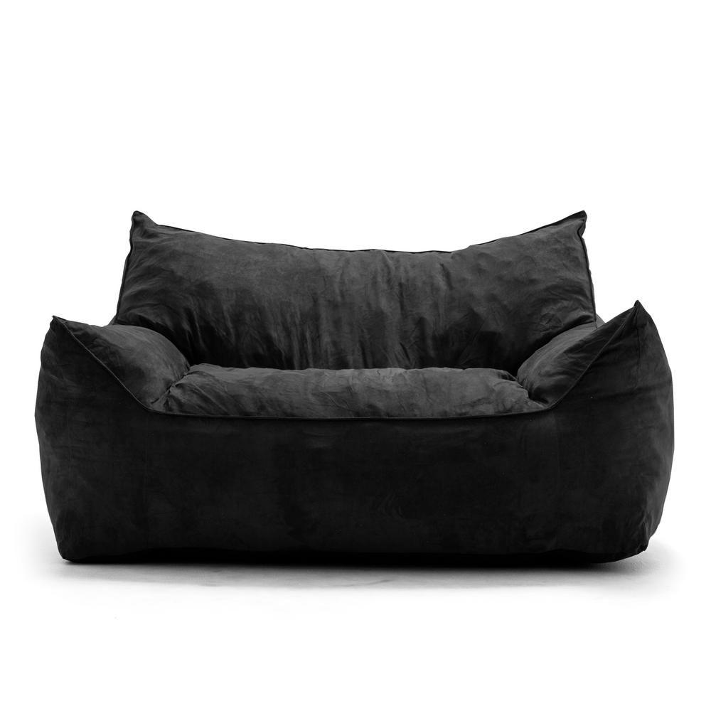Big Joe Roma Chair Black Comfort Suede Plus Bean Bag 0657378 The Home Depot Bean Bag Sofa Large Bean Bag Sofa Extra Large Bean Bag