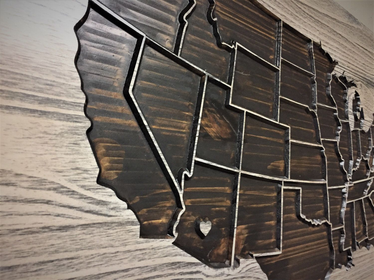 Push Pin Map Wooden US Map Wood