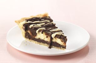 Prep: 30 min  Total: 1 hr 15 min Serves 10    What you need:  1/2 pkg (15oz) ready refrigerated pie crust  1 pkg (8oz) philadelphia cream cheese, softened  1/4 c sugar  3 eggs divided  6 squares bakers semi sweet chocola  1/2 cup (1 stick) butter  2/3 c sugar  1 tsp. vanilla  1 c flour  1 square bakers semi sweet chocolate, melted  1 square bakers white choc, melted    Make it:  PREHEAT oven to 350°F. Prepare crust as directed on package, using 9-inch pie plate. Beat cream cheese, 1/4 cup…