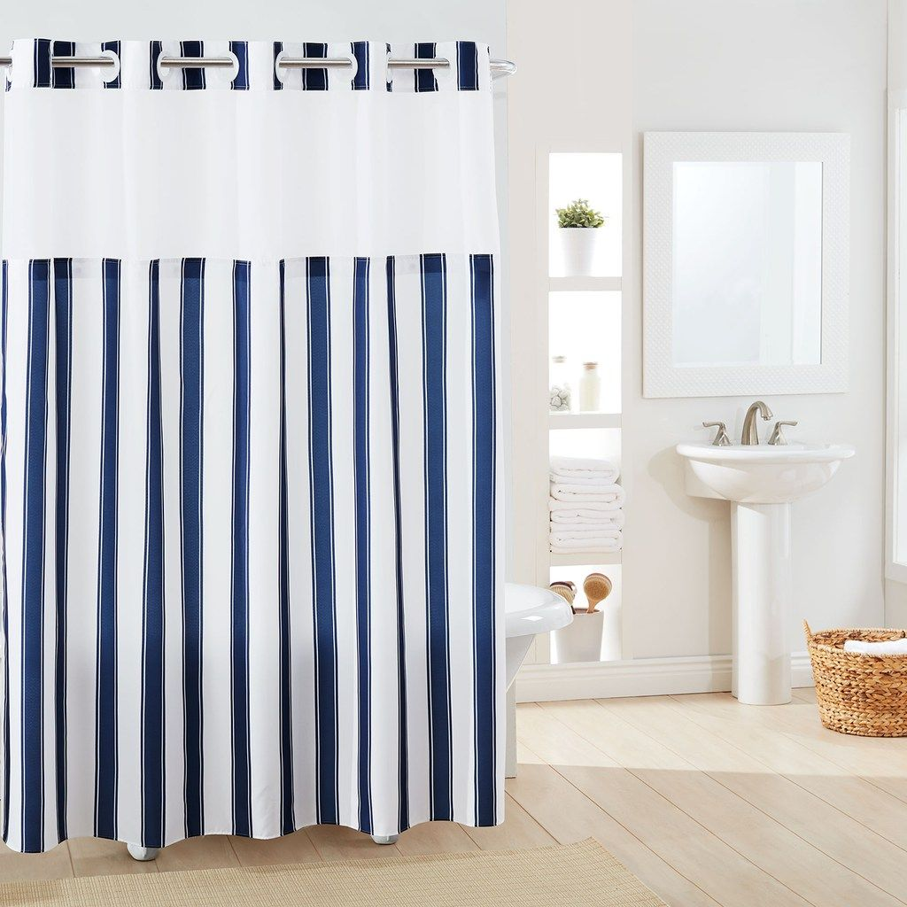 Hookless Stripe Shower Curtain Liner Pink 71x74 Striped