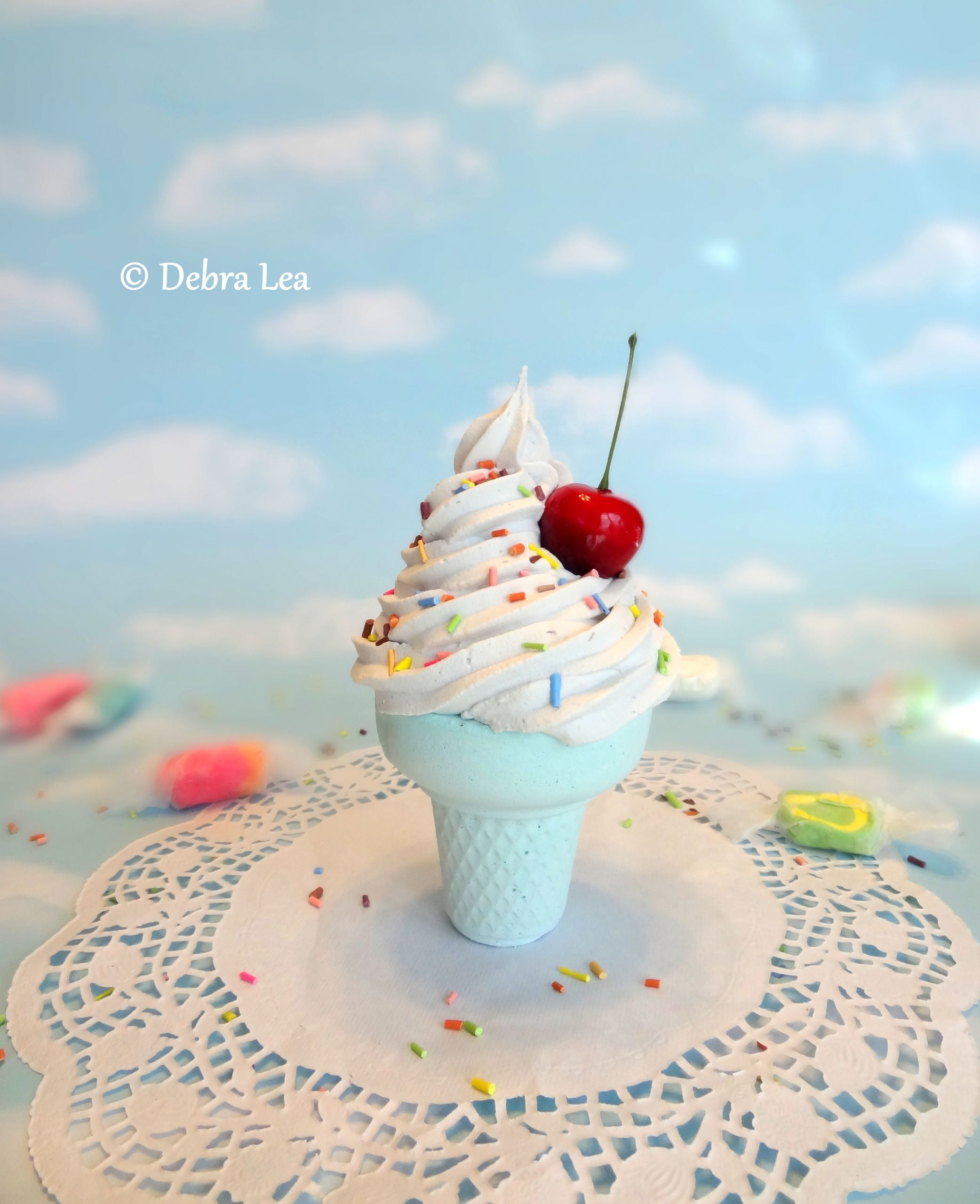 Fake Ice Cream Faux Ice Cream Cone Realisitc Gourmet Aqua