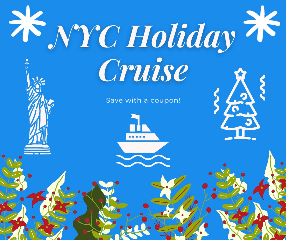 Take a 1 & a half hour cruise this winter & you can see New York City at Christmas time! The cruise is in a classic 1920s-style yacht decorated in holiday decor. You'll view landmarks & areas like the Statue of Liberty, One World Trade Center, Manhattan's financial district, the Brooklyn Bridge & Ellis Island. Find out how to save money on this sunset cruise in NYC. #NewYorkCity #NYC #BrooklynBridge #NYCChristmas #ChristmasInNYC #NewYorkChristmas #ChristmasinNewYork #EllisIsland #StatueOfLiberty