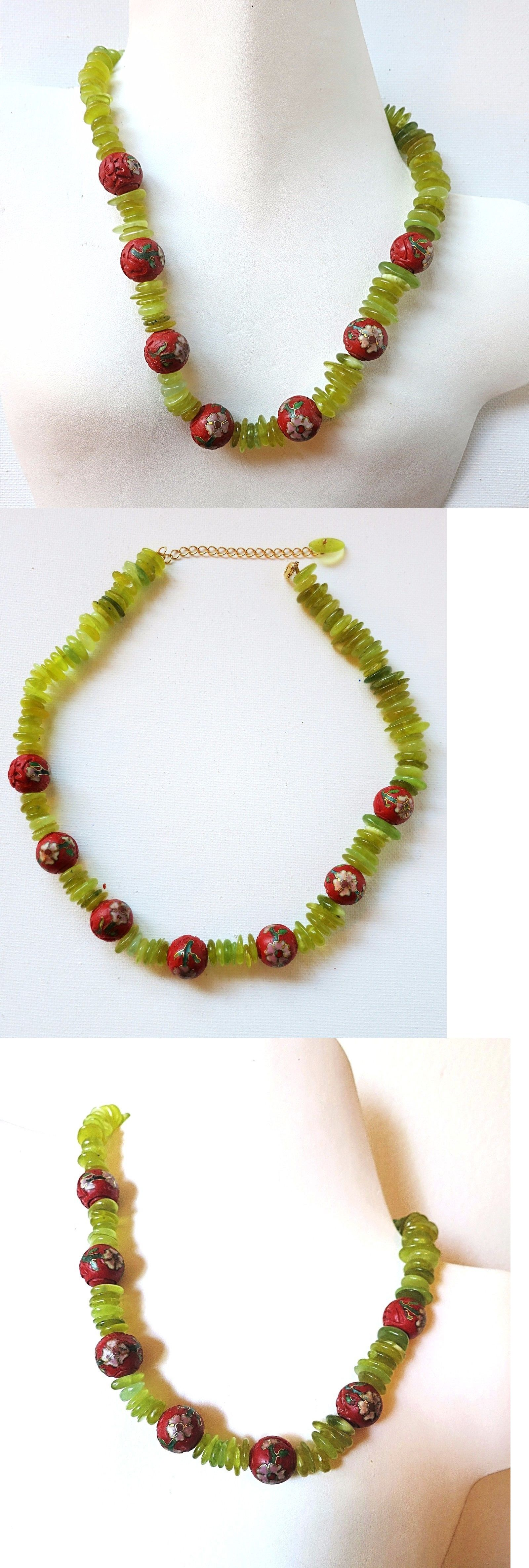 oblacoder beautiful chinese jade green bead necklace