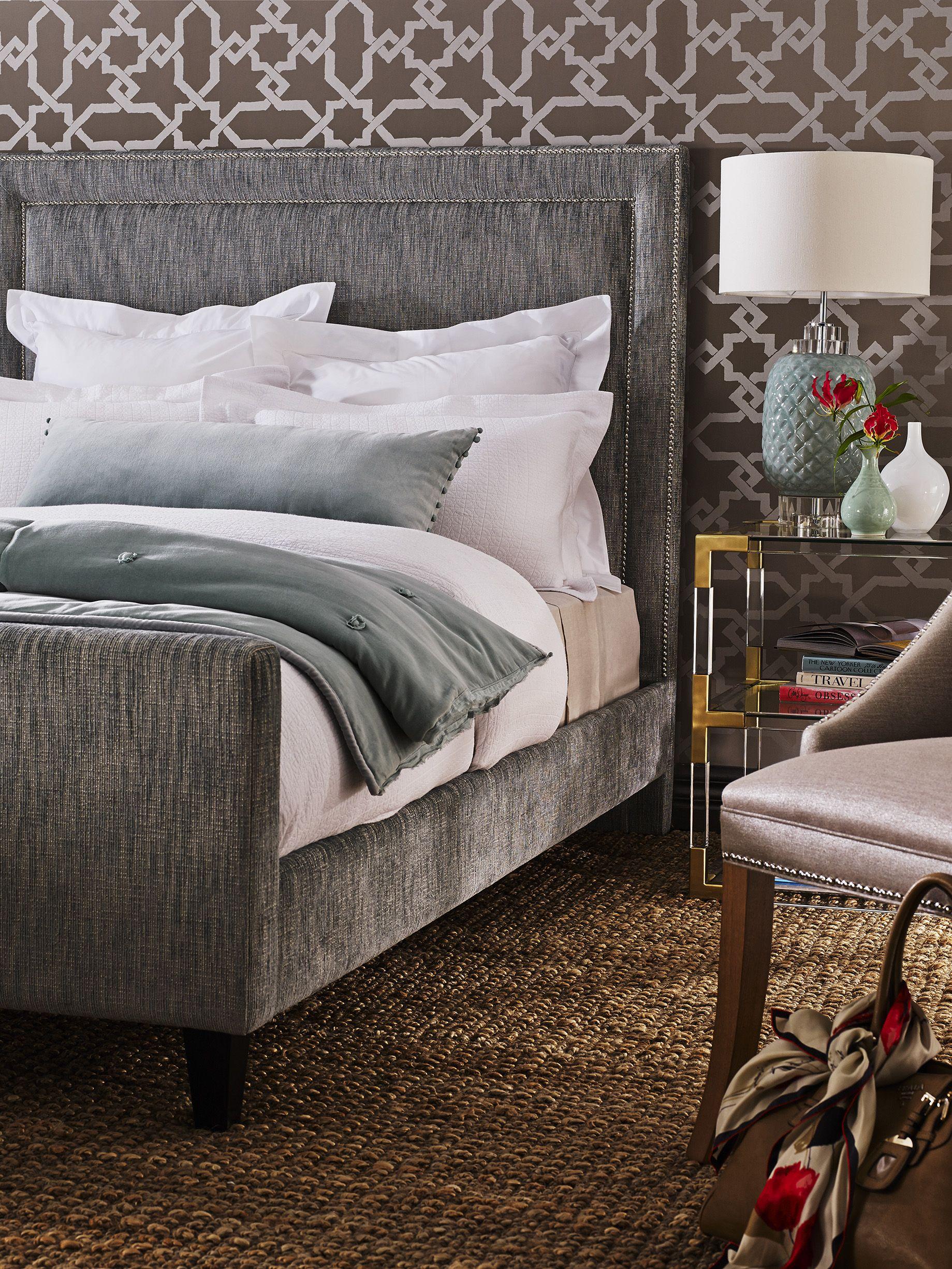 Master bedroom Upholstered bed base with added