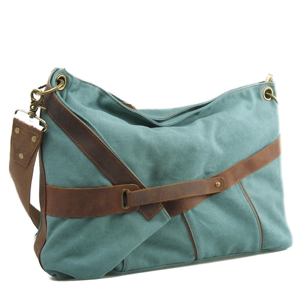 64.99$  Buy here  - Fashion high quality Shoulder Diagonal Canvas Bag With Crazy Horse Leather Bulk Bag Styles Of Men And Women