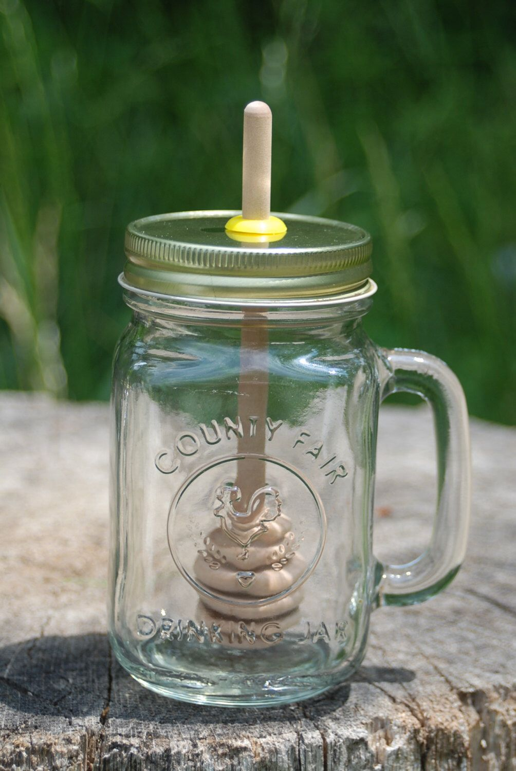 1 big mug mason jar honey pot with birch dipper empty honey jar