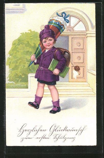"""carte postale ancienne: CPA """"Herzlichen Glückwunsch zum ersten Schulgang"""", Fille im lila Mäntelchen avec Buch et Zuckertüte"""