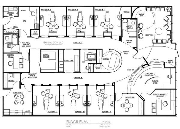 Dental office floor plans clinicas hospital pinterest for Office layout plan design