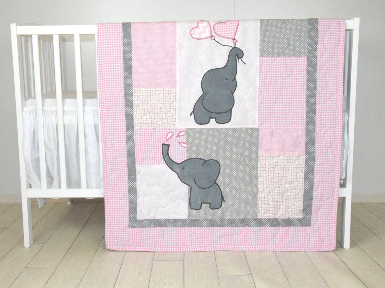 Chica edredón, manta de elefante, rosa gris cuna ropa de cama ...