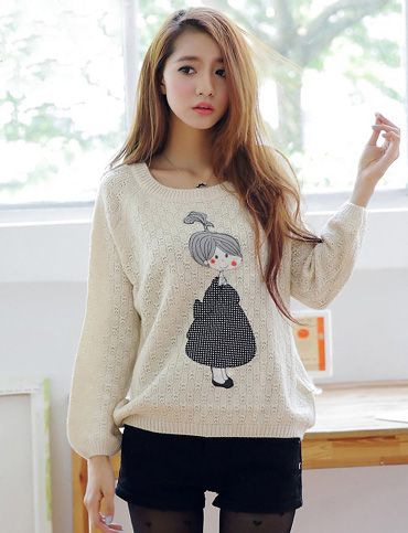 Adorable Applique Pullover Sweater Korean girls fashion