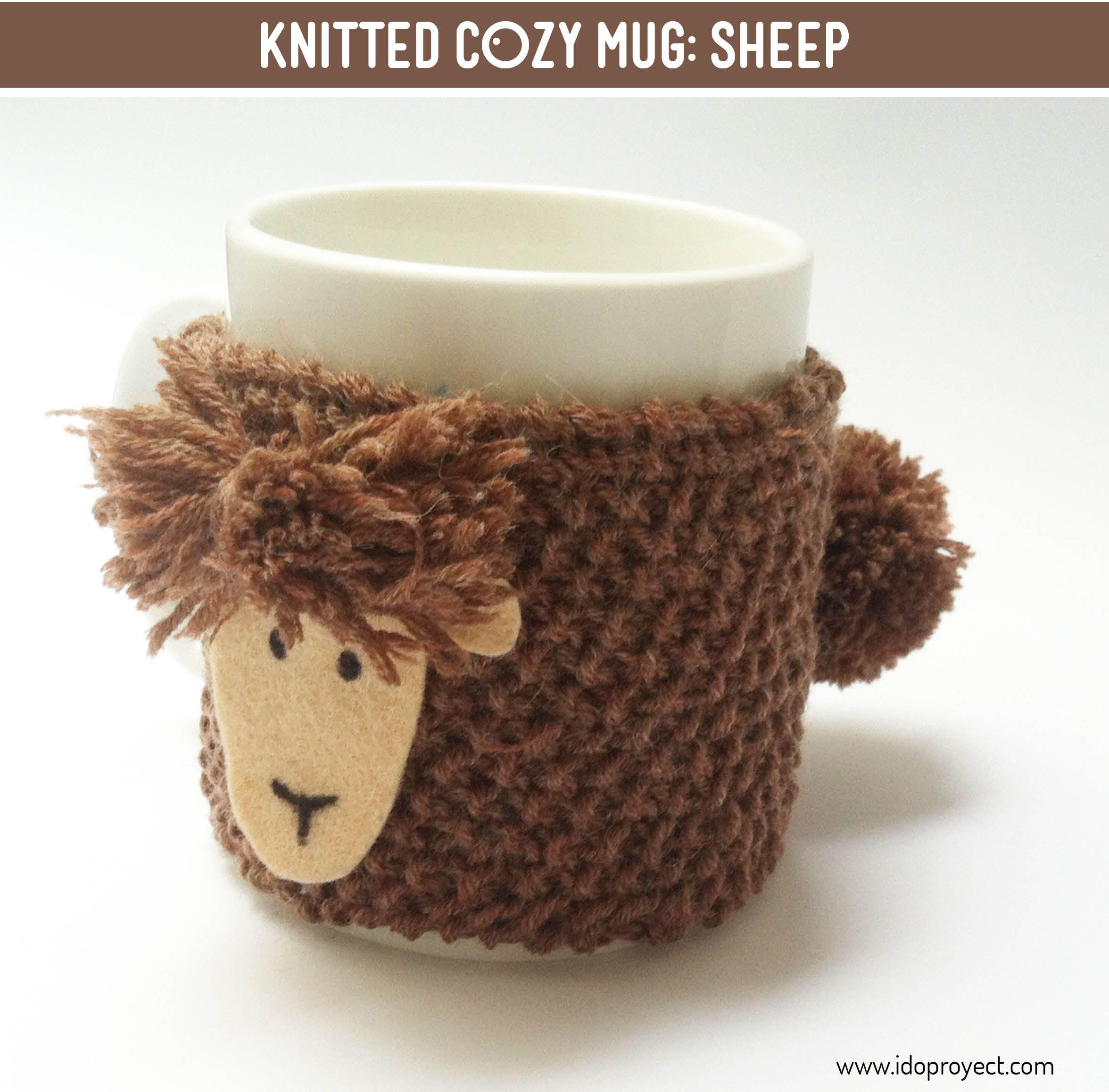 Funda para taza de punto. Oveja #knitting #mug #cozymug | cubre taza ...
