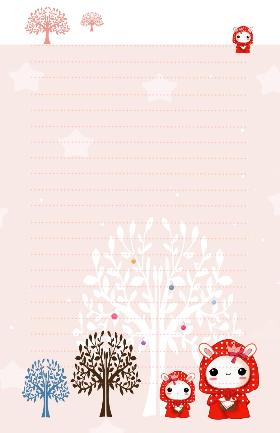 Kawaii red hood bunnies - stationery by tho-be.deviantart.com on @deviantART