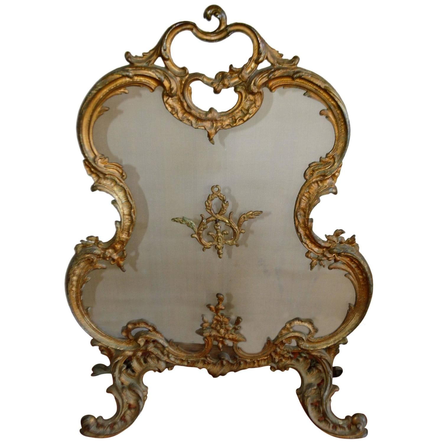 french rococo style bronze and mesh fireplace screen my 1stdibs rh pinterest com