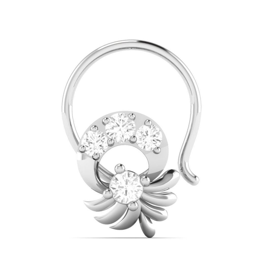 Piercing nose diamond   CT Diamond Wedding Engagement Flower Piercing Nose Pin Ring K