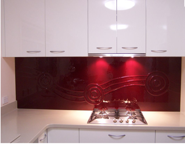 beautiful dark red painted glass backsplash bold is beautiful rh pinterest com