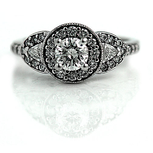 Vintage Style Engagement Ring 14K White Gold Engagement Ring 1.05ctw Round Diamond Size 4.5!