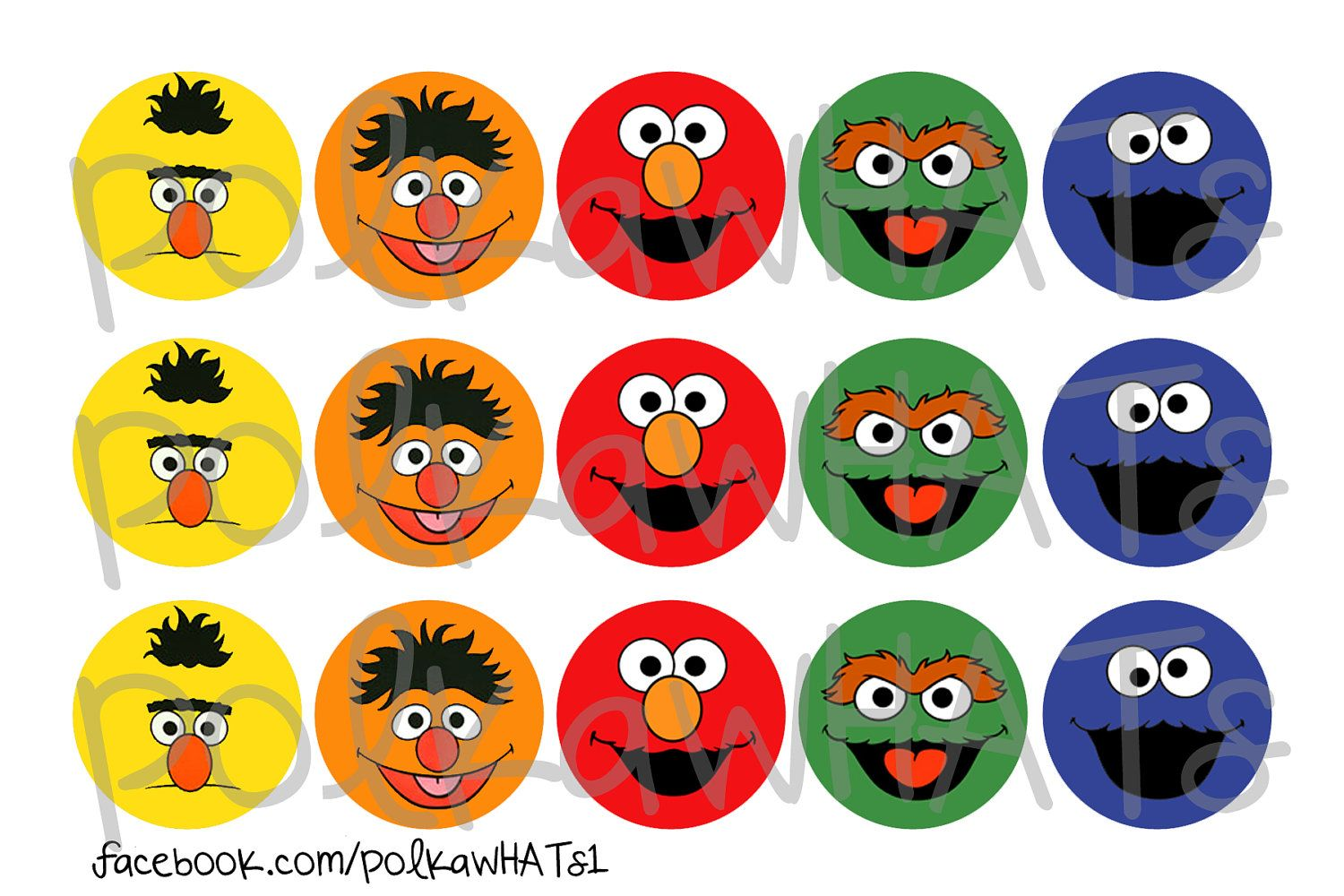 Sesame Street Characters Faces Elmo Cookie Monster 1