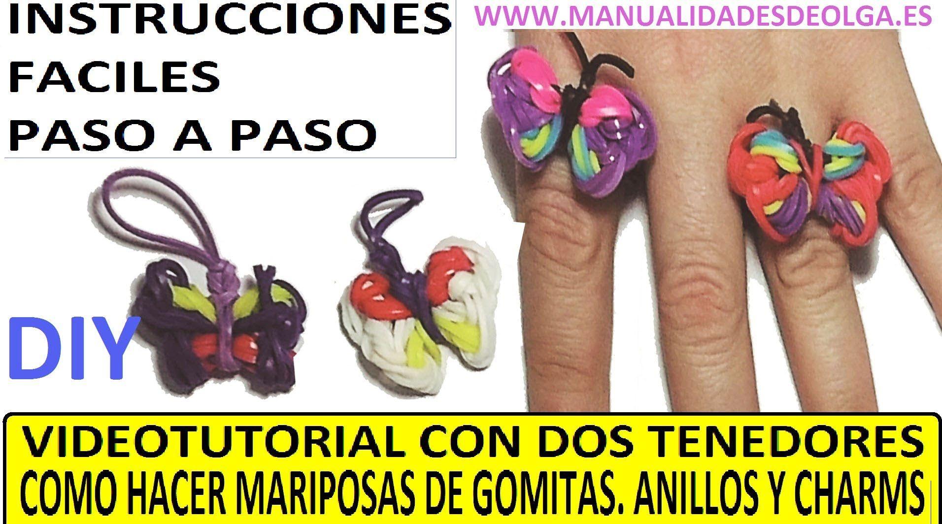 COMO HACER UN ANILLO CON UNA MARIPOSA DE GOMITAS CON DOS TENEDORES. (CHARM). VIDEO TUTORIAL DIY