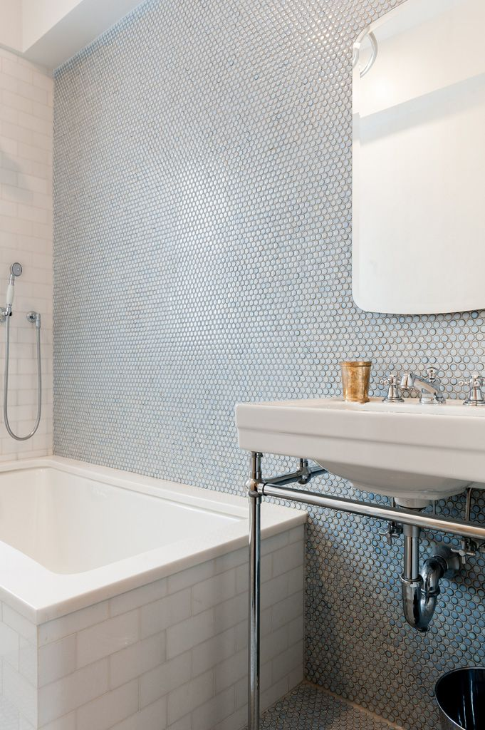 Blue 6x6 Tile Kids Bathroom With Mexican Tile Accent: Penny Tile, Bathroom, Penny Round Tiles