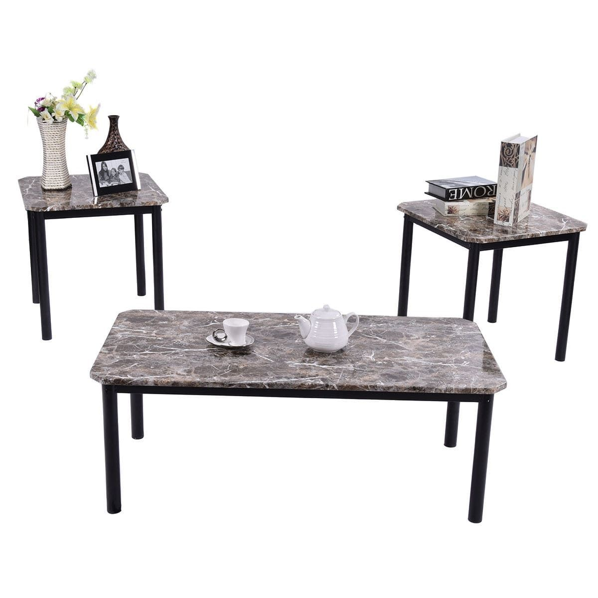 Costway 3 piece modern faux marble coffee brown and end table set living room