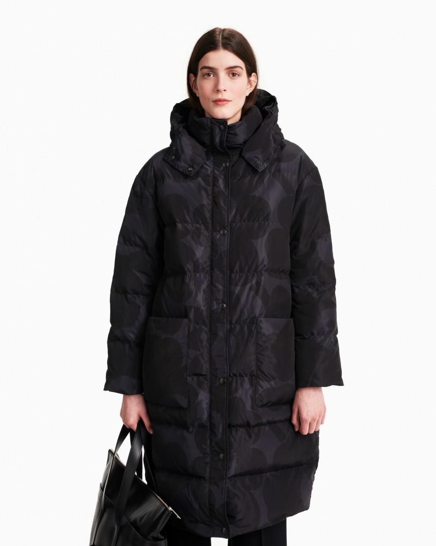 25 Vuolu Unikko puffer coat black Marimekko, Down coat