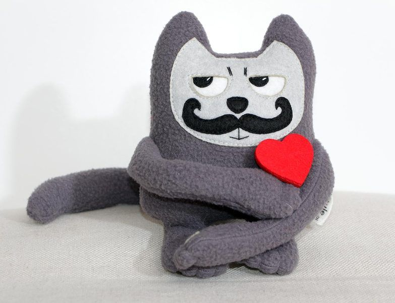Mustache Cat mini edition with cute heart shaped brooch. It's special valentines…
