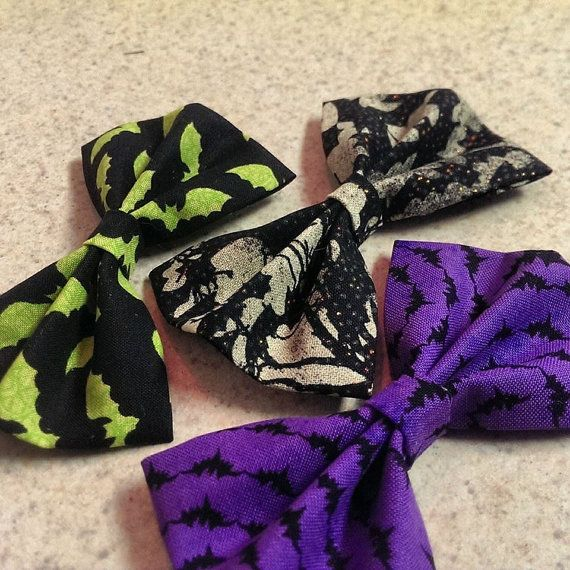 3 Pack of Fabric Bat Bows $12 by LittleMsSprinkle on Etsy
