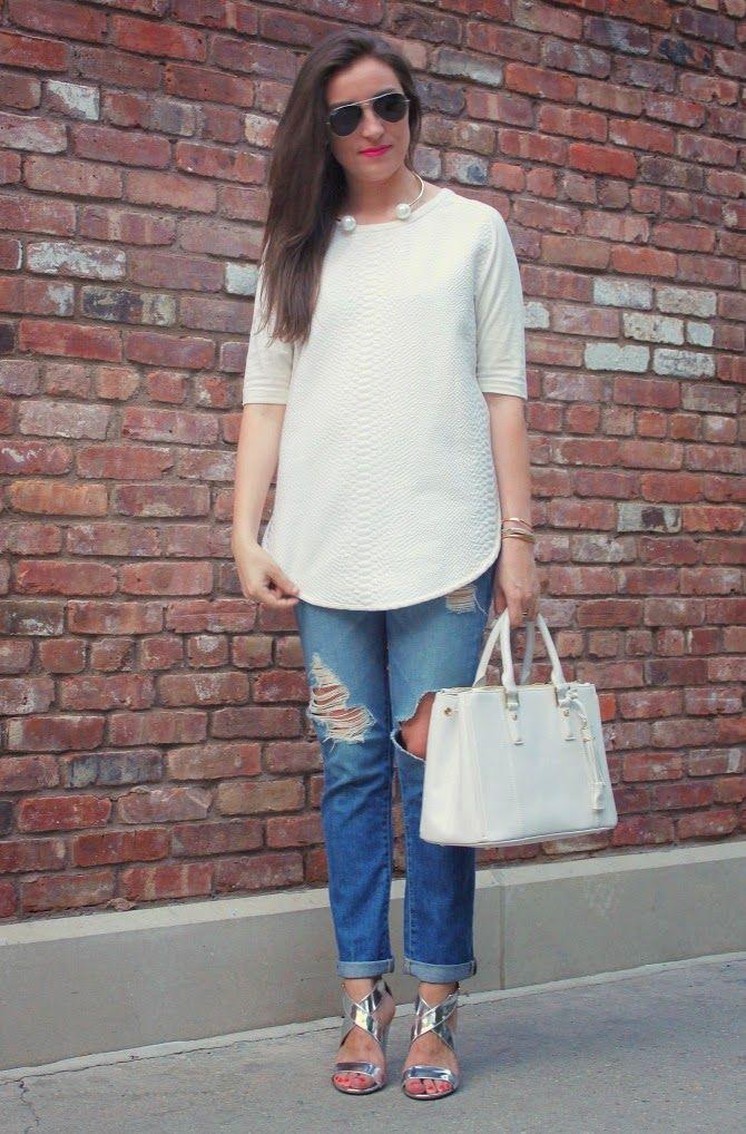 Women's White Textured Short Sleeve Blouse, Blue Ripped ...