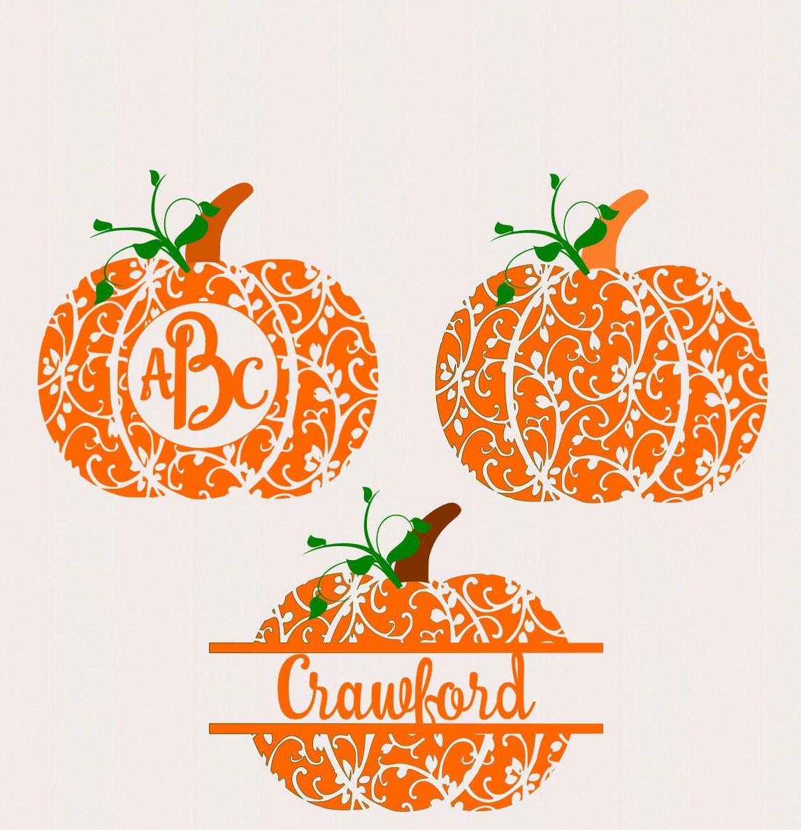 Fall Pumpkin SVG, DXF, EPS, circle monogram Frame cutting