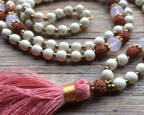 The LOVE Mala Rose Quartz: Handmade in Bali. Crystals creating an energy of calm, positivity and patience. Supporting Lombok Earthquake victims. $99. #malabeads