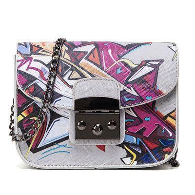 Women Bag Summer Graffiti Ladies designer handbags chain mini bag women messenger bags sac a main femme de marque luxe cuir 2016