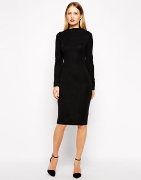 fedc6ae6d4a Enlarge ASOS Pencil Dress with Asymmetric Neck and Long Sleeves ...