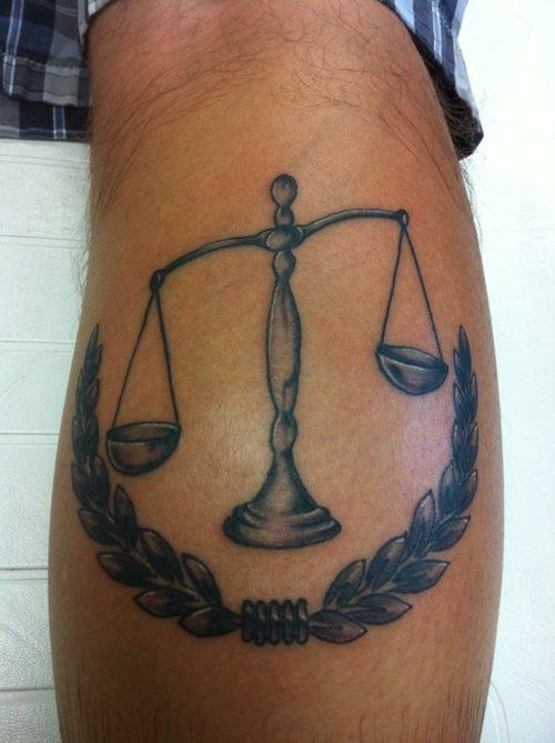 Justice Scales Tattoo On Back Of Leg Scale Tattoo Scales Of Justice Tattoo Back Of Leg Tattoos