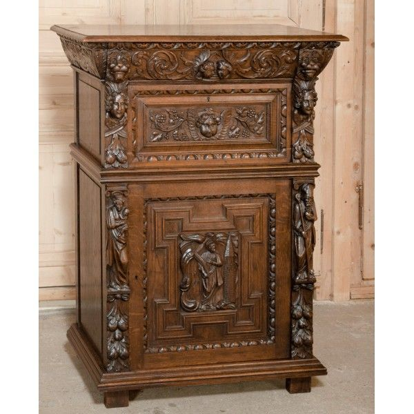 Antique Furniture | #Antique #Buffets, #Sideboard, #Cabinets | Renaissance Revival Cleric's Buffet/ Sideboard | www.inessa.com