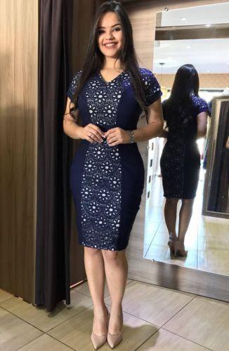Vestido Executiva confeccionado Malha jacquard com elastano ... 470681bc07d