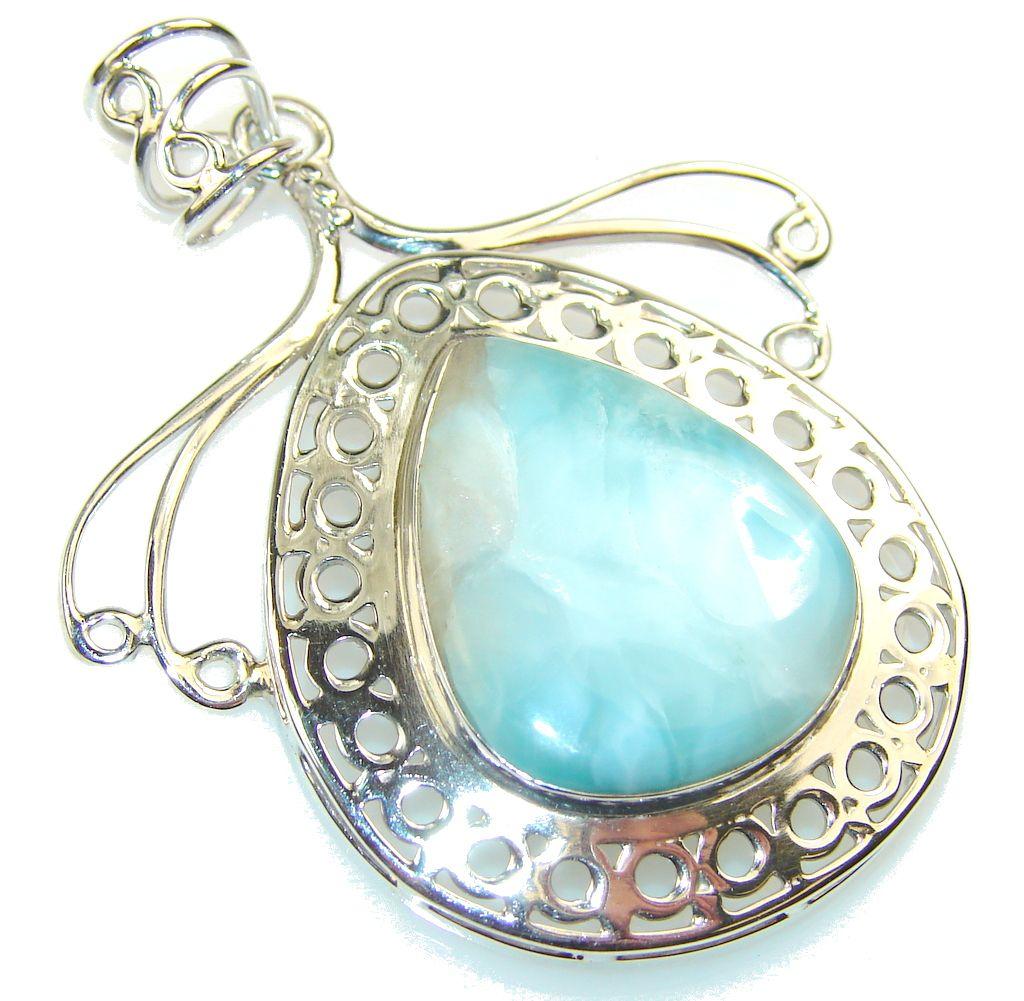 $69.25 Misty Morning!! Blue Larimar Sterling Silver Pendant at www.SilverRushStyle.com #pendant #handmade #jewelry #silver #larimar
