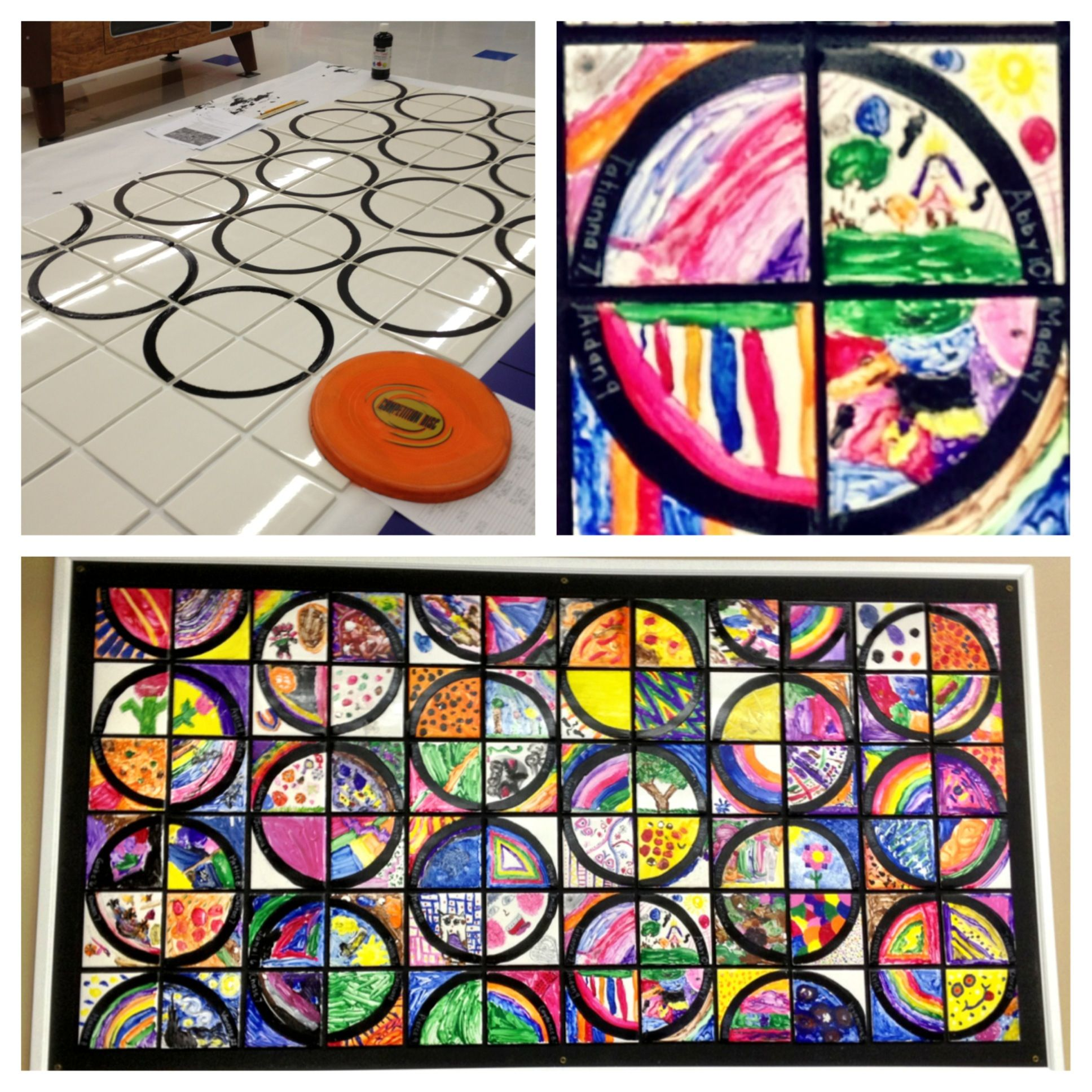 Details about hassam garden painting ceramic bathroom tile murals 2 - Collaborative Circle Student Mural 6x6 White Ceramic Tiles From Menards 20 For A Box Of 50 Tiles First Trace Circles Around A Frisbee With Black Paint