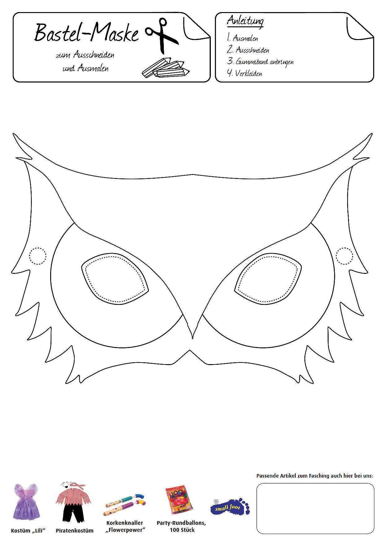 Eulen Maske Das Trendige Tier Zum Aufsetzen Und Verkleiden Tiermasken Basteln Masken Basteln Masken