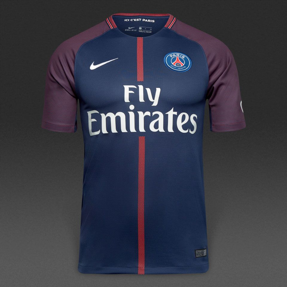 b2d7b068ba1c Nike PSG 17/18 Home SS Stadium Match Shirt - Midnight Navy/White ...