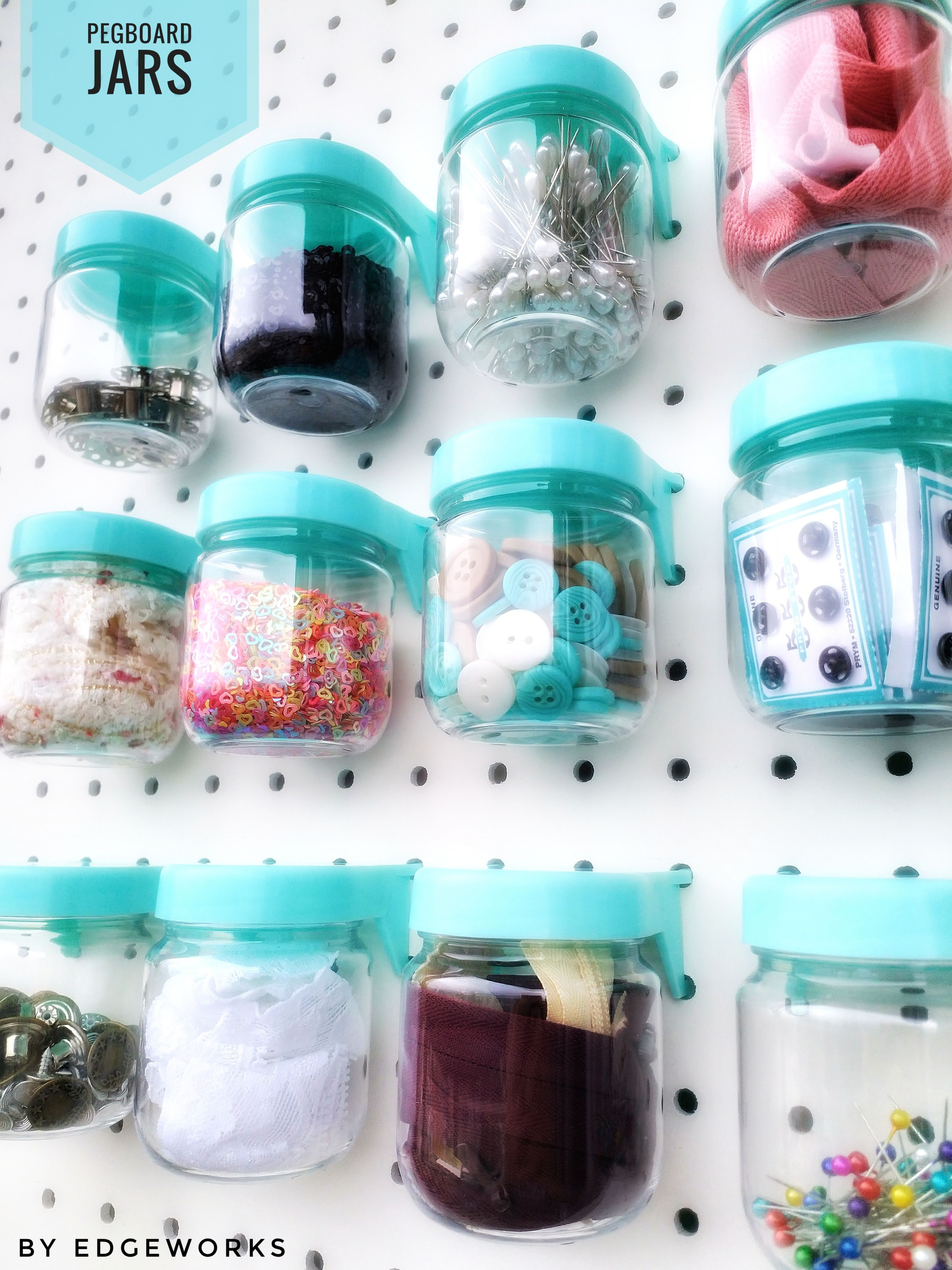 Pegboard Organization Jars Store All Of Your Sewing Quilting Or Crafting Accessories Peg Board Sewing Jars Craft Room Decor
