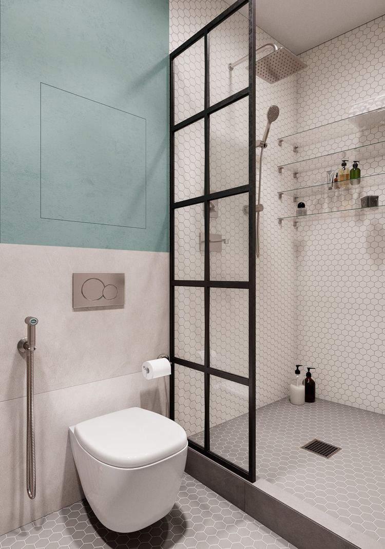 Badezimmer Weiß Grau Mintgrün Dusche  Einrichtung skandinavischer