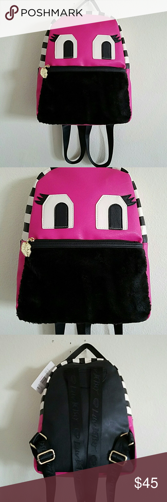 """New Betsey Johnson LBTazzy W/Fur Bottom Backpack This is brand new with the tags a HTF Betsey Johnson  small with fur front bottom backpack.This is called the monster backpack,fuchsia in color and says:LBTazzy.This would make a perfect Christmas gift for any girl or woman that likes Betsey Johnson. This is small so it could be used as a larger handbag or it has shoulder straps that are adjustable on the back.The measurements are:13""""x12""""x6"""".On the front is a zippered pocket,inside is 2 slots…"""