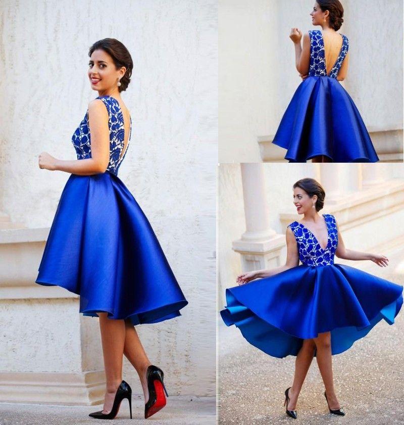 2016 Homecoming Dress Royal Blue Hi Lo Short Prom Dresses V Neck ...