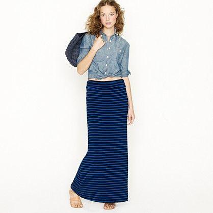 445962594d j crew. My new favorite skirt- Jersey maxiskirt in stripe Long Maxi Skirts  ...