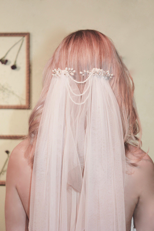 Blush boho draped veil boho bridal veil boho wedding veil draped
