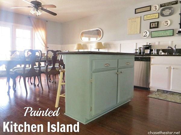 Kitchen island makeover with duck egg blue chalk paint for Duck egg blue kitchen island