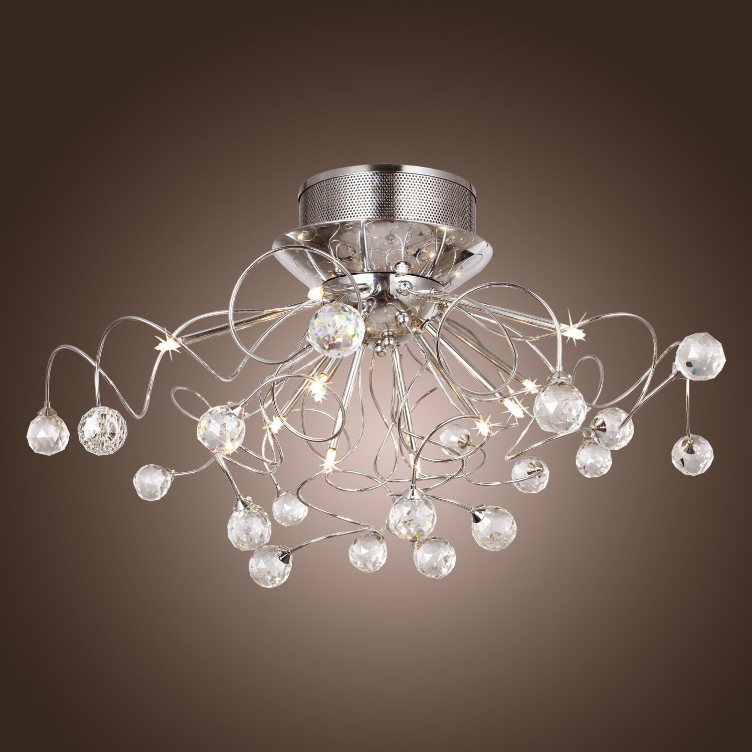 Lightinthebox modern crystal chandelier with 11 lights chrom flush lightinthebox modern crystal chandelier with 11 lights chrom flush mount chandeliers modern ceiling light fixture for hallway entry bedroom arubaitofo Image collections