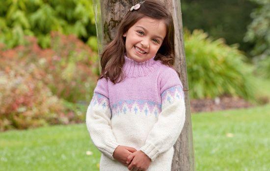Free Knitting Pattern - Girls Fairisle Sweater by Patons ...